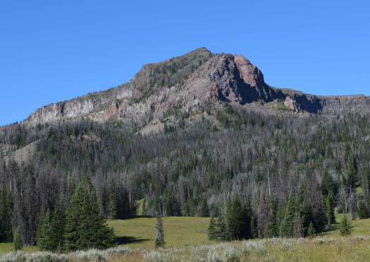 East side of Lion Mountain as seen from Wolverine Basin. Alkaline basalt caps Lion Mountain, with a K-Ar age date of 30.8 Ma.