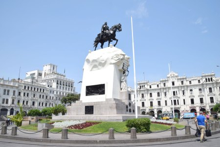 Plaza San Martin was dedicated on July 27, 1921 to honor the 100th anniversary of Peru's independence. The statue of Jose San Martin is central to the Plaza.