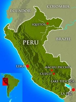 Map location of Machu Picchu (from Machu Picchu - the lost city).