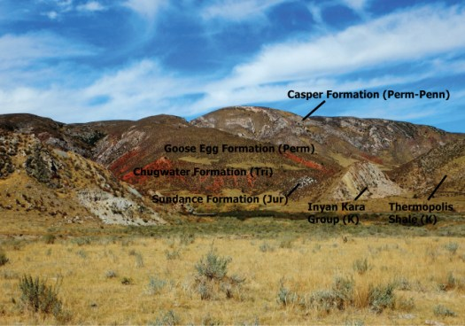 The walls to the Tertiary paleovalleys near Chugwater Creek are hogbacks of overturned rocks ranging from Pennsylvanian to Cretaceous in age.