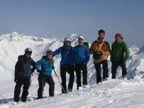 Gruppenfoto am Hintersattel (2.406m): v.l. Tim, Conny, Matthias, Dietmar, Klaus, Georg
