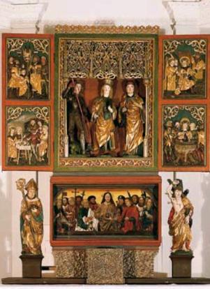 Der wunderschöne gotische Flügelaltar der Pfarrkirche Morzg (Quelle: Verlag St. Peter)