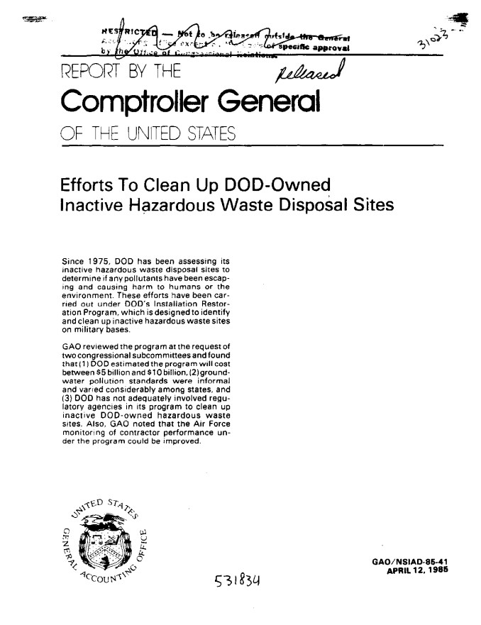 Efforts To Clean Up DOD-Owned Inactive Hazardous Waste Disposal Sites