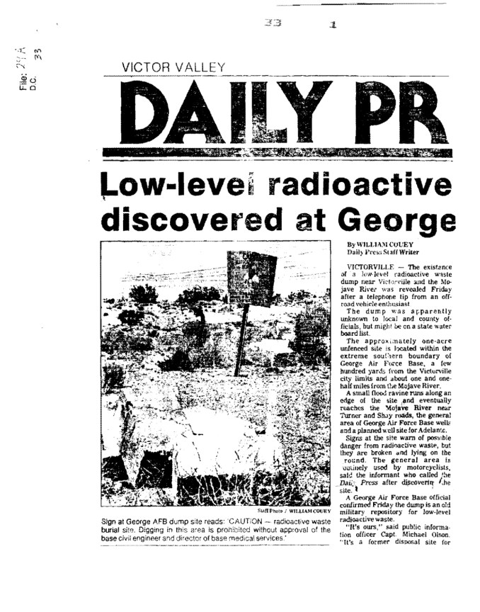 Low-level radioactive dump discovered at George AFB