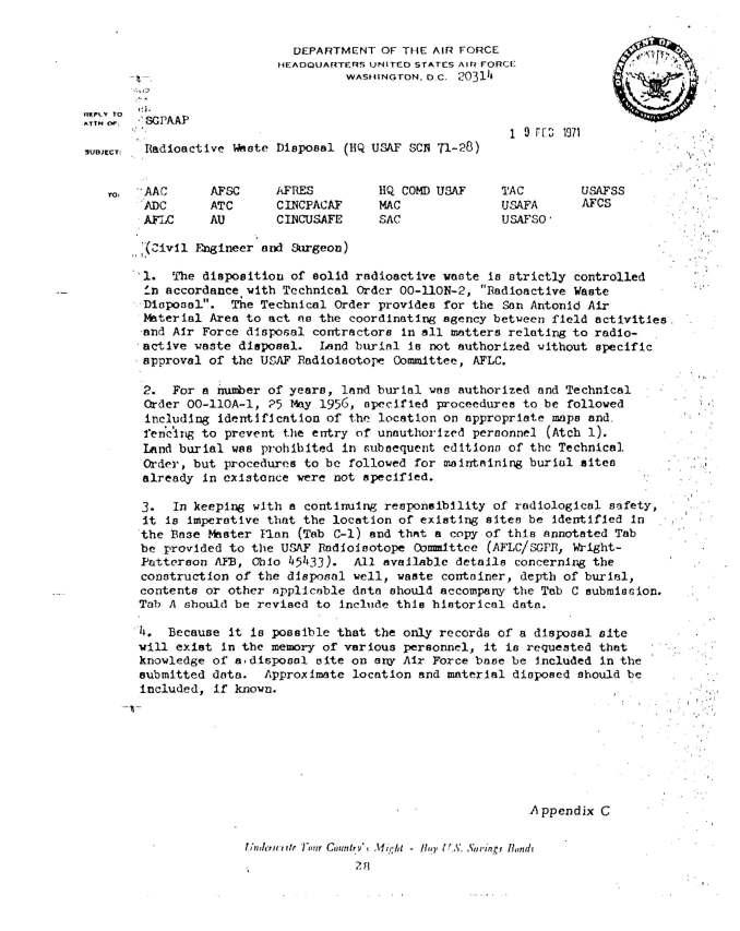 Radioactive Waste Disposal HQ USAF SCA 71-28