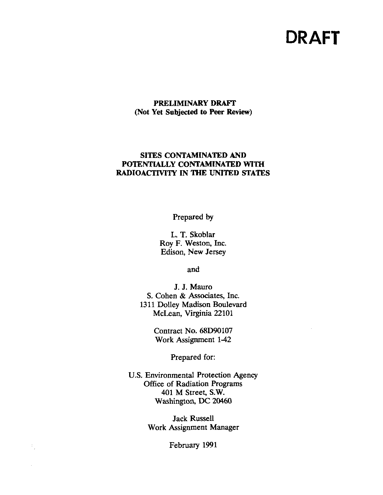 Sites Contaminated and Potentially Contaminated With Radioactivity in the United States
