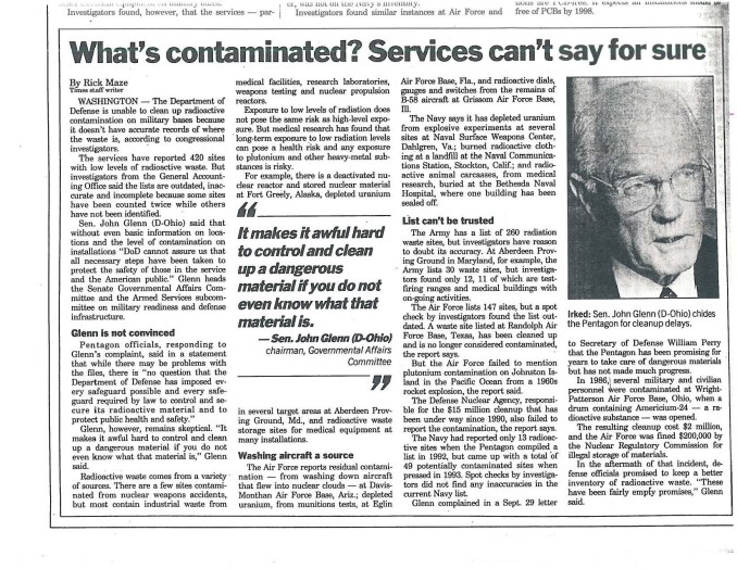 What's contaminated Services can not say for sure