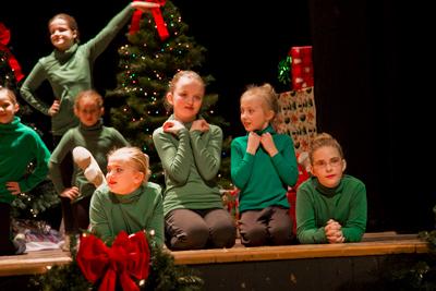 little girls in green