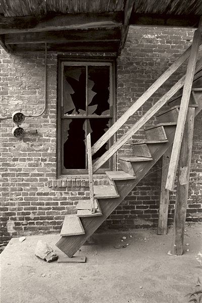 stairs and broken window