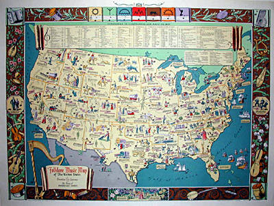 Map  United States  Pictorial  Folk Music  Dorothea Dix Lawrence     Pictorial Map  United States Music Map