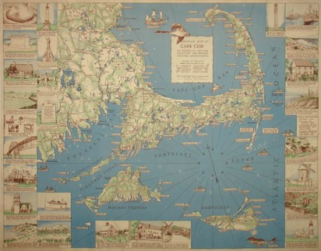 Map  Massachusetts  Cape Cod  Nantucket  Martha s Vineyard     Pictorial Map  Cape Cod  Decorative