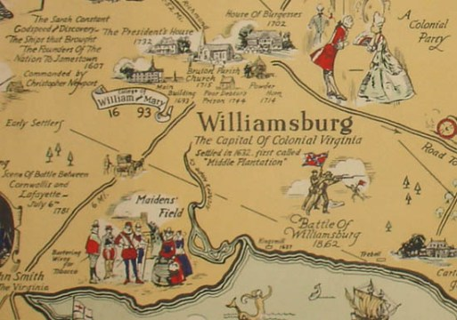 Map  Virginia  Jamestown  Williamsburg and Yorktown  Pictorial     Pictorial Map  Virginia  Jamestown  Williamsburg and Yorktown  Colonial Era