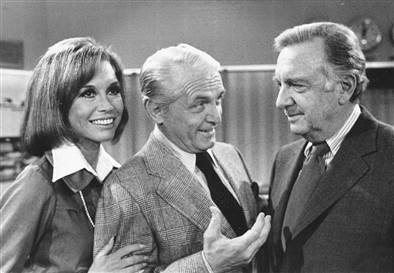 Mary Tyler Moore with legends of news