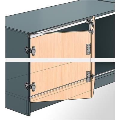 ferrure coulissante pliante de meuble hettich wingline 77 pour porte en applique max 25kg par vantail