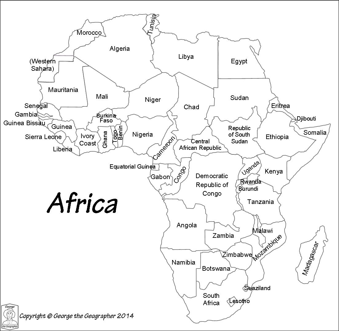 Africa Map Black And White Outline
