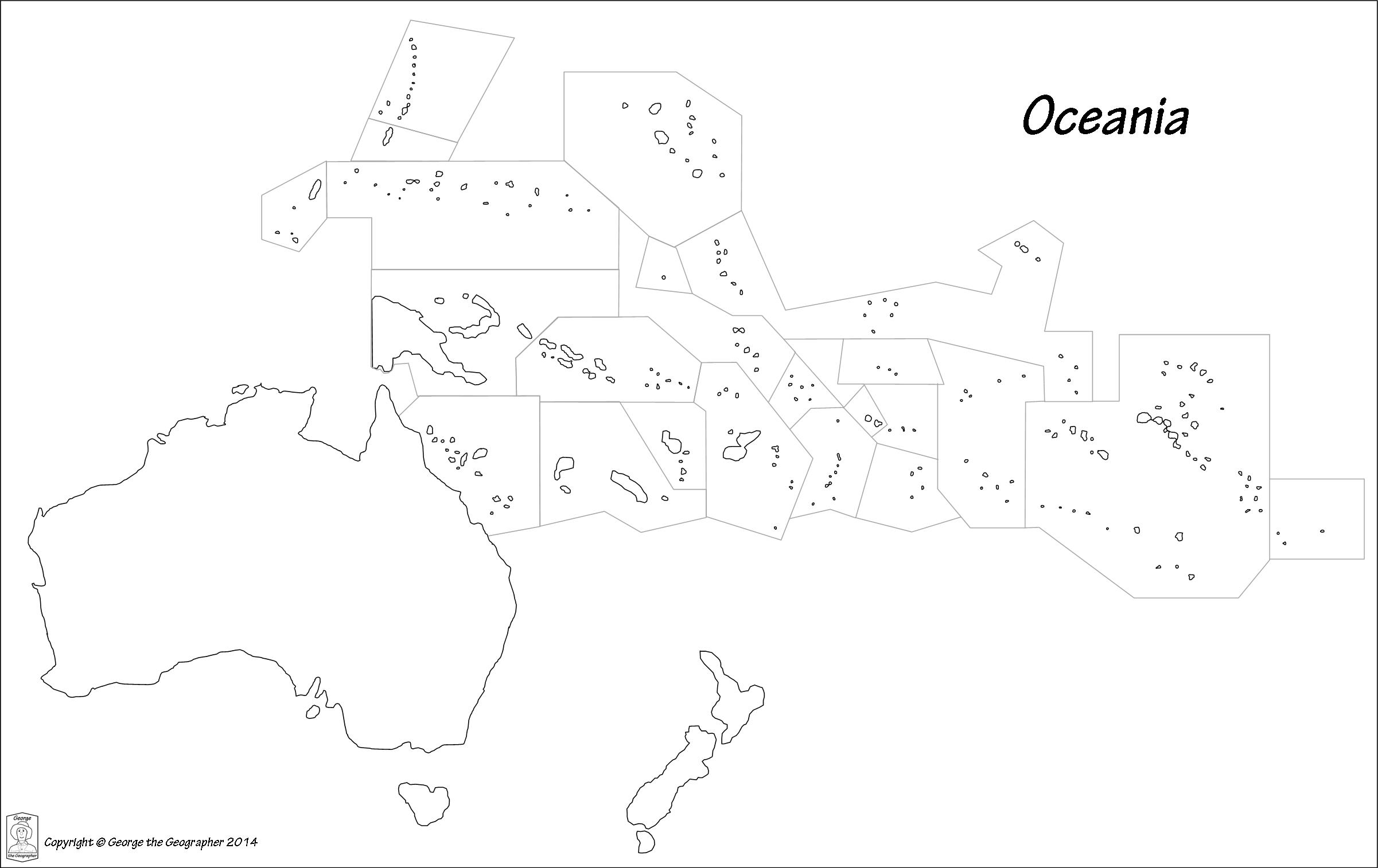 Oceania Map Printable