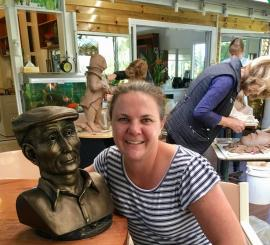 Amy finished her sculpture today by bronzing it.