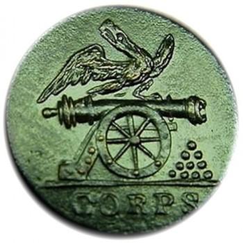 1814-21 Artillery Corps 15mm Brass Unlist. Size Dug at A Jackson encampment AY 55-B RJ Silversteins georgewashingtoninauguralbuttons.com O