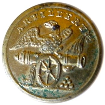 1820-30's Artillery Militia Brass 22mm. AY 59-A English Unlist. Variant rj silverstein's georgewashingtoninauguralbuttons.com O