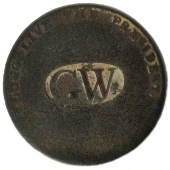GWI 11-A 34mm Brass Dug Farmers Field Marshall, NY RJ Silverstein georgewashingtoninauguralbuttons.com O