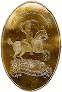 Ribands above and below are inscribed 3rd New York or Washington Troop. The backside has the impressed stamp of the maker, Bayley GEORGEWASHINGTONINAUGURALBUTTONS.COM