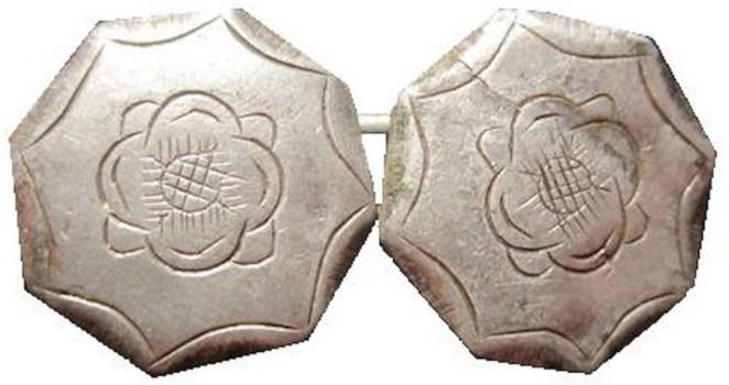 1748-87 Tudor Rose silver 15mm tudor rose cuff links georgewashingtoninauguralbuttons.com r