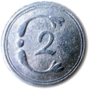 1781 2nd Conn Regt. 26mm Silvered Repousse Sheet Pewter Dolphin Motif georgewashingtoninauguralbuttons.com O