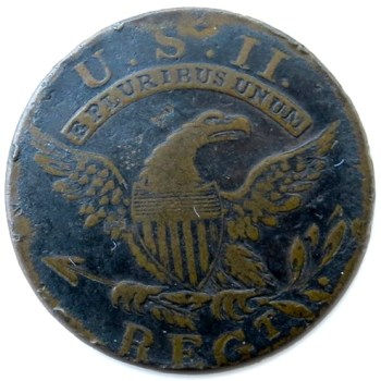 1808-12 U.S. ARMY Infantry Officer 23mm Sheffield Silver Plated Copper Albert's GI 53R2 rj silverstein georgewashingtoninauguralbuttons.com O