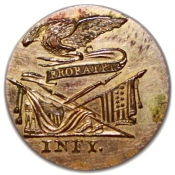 1810-12 Federal Infantry Officer 26mm Silvered Copper GI 51-J RJ Silverstein's Georgewashingtoninauguralbuttons.com O
