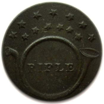 1812-14 Regiment of Rifleman 20mm Brass GEORGEWASHINGTONINAUGURALBUTTONS.COM O