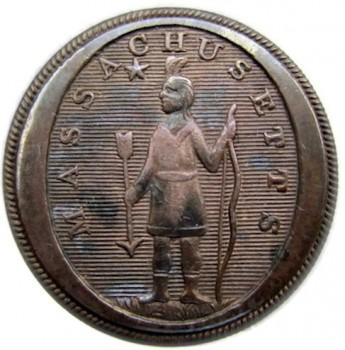 1812-30 Mass Militia General Service button 25mm Brass georgewashingtoninauguralbuttons.com O
