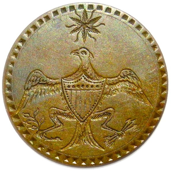 GWI 12-B EAGLE & STAR BRASS 34.63MM 54 INDENTS R-5RJ Silverstein's georgewashingtoninauguralbuttons.com O 2