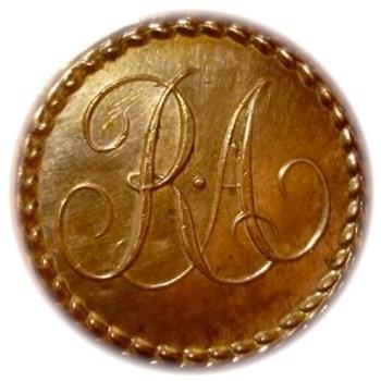Royal Artillery 24mm gilt copper repousse Bone Back Ebay 10-19-12 $1200