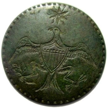 WI 12-B 34mm 54 ind. Brass Dale's Button Green Patina rj silverstein's georgewashingtoninauguralbuttons.com O