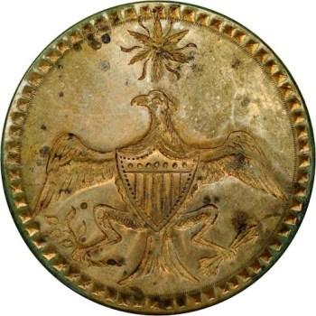 WI 12-C 34mm Brass Olive Toned verdigris Dug Orig Shank Stacks Sold Jan 2012 $3,162