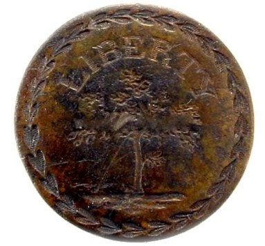 America's Liberty Tree Brass Patiotic Button rj silversteins georgewashingtoninauguralbuttons.com