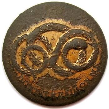 Georgia Chatam Artillery Rattlesnake Button 21mm. Double Gilt Brass rj silverstein's georgewashingtoninauguralbuttons.com O