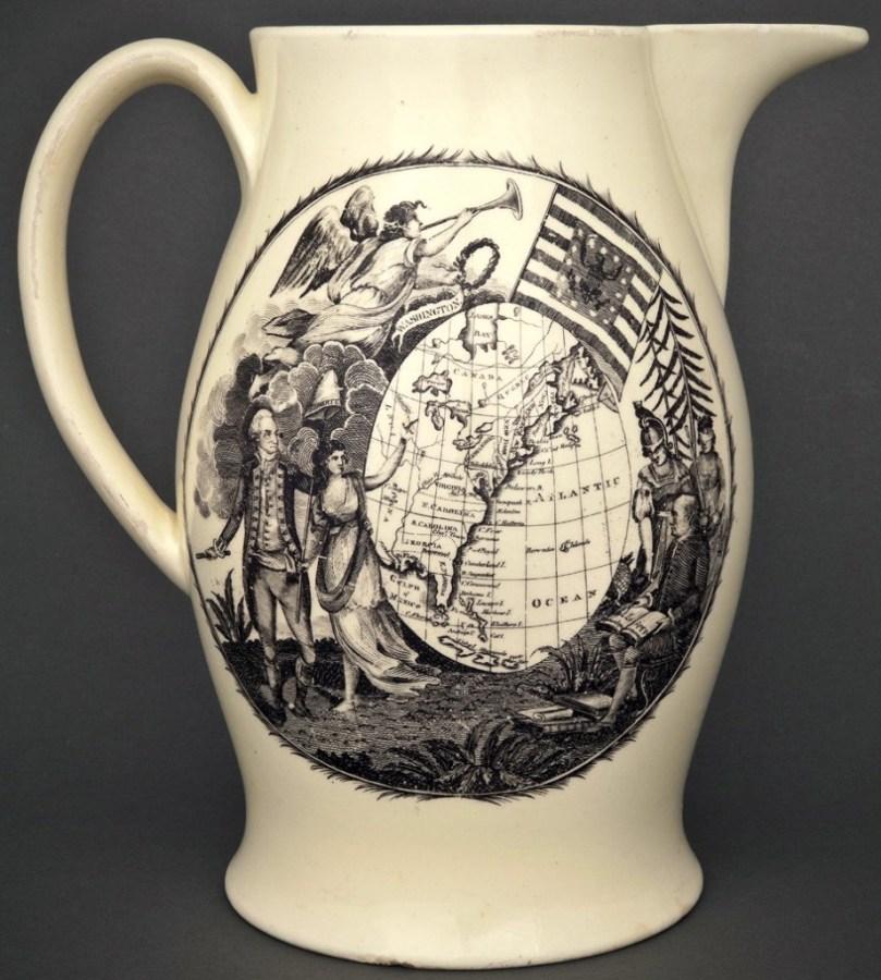 1790-1810 Jug With Map RJ Silverstein's georgewashingtoninauguralbuttons.com O