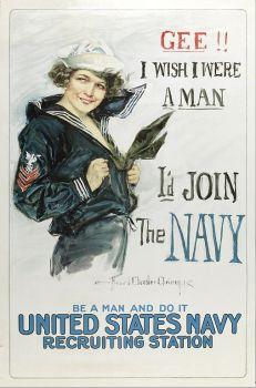 1917 howard chandler christy navy recruiting poster Gww I Wish I were A Man, I'd Join The Navy georgewashingtoninauguralbuttons.com O
