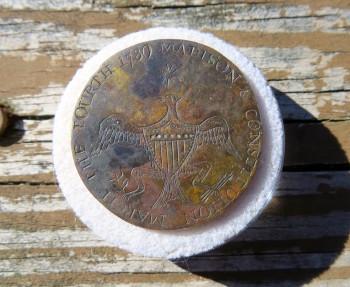 March the Fourth 1789 Madison & Constitution 33.86mm Copper Orig Shank RV 6 3 Known RJ Silverstein's Georgewashingtoninauguralbuttons.com Wood