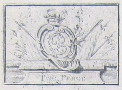 1745 Prince Charlie Two Pence Bronze Money Plate RJ Silverstein's georgewashingtoninaugurlbuttons.com O