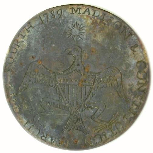 1789-1809 Madison Constitution button 35mm Gilt Brass RJ Silverstiens georgewashingtoninauguralbuttons.com O