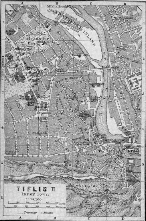 Baedeker Map of Tiflis dated 1914
