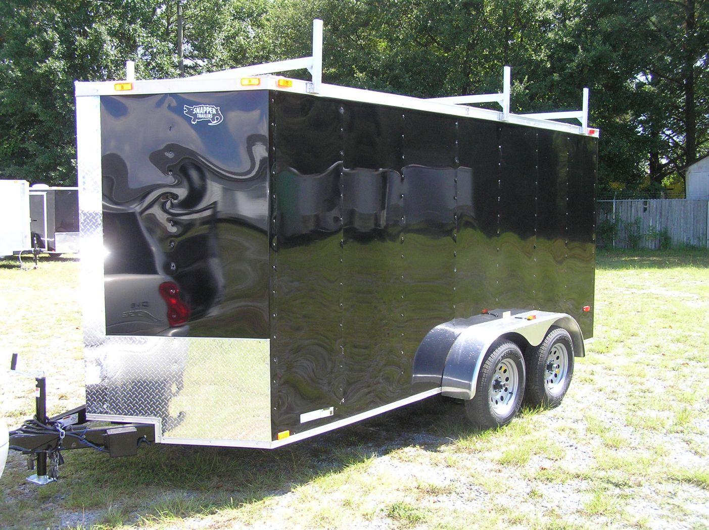 6x14 ta trailer black ramp side door extra height ladder racks pressure treated floor