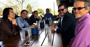 Members of the Capitol Hill press  corps recently took Walter Jones to lunch to honor his time  covering the Gold Dome.  L to R, Kristina Torres, AJC; Maggie Lee, Macon Telegraph; Johnny Kaiffman, WABE, Jones; Aaron Gould Sheinin, AJC, James Salzer, AJC.