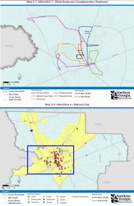 Top: Proposed fixed route service. Bottom: Proposed Ridesource service area.