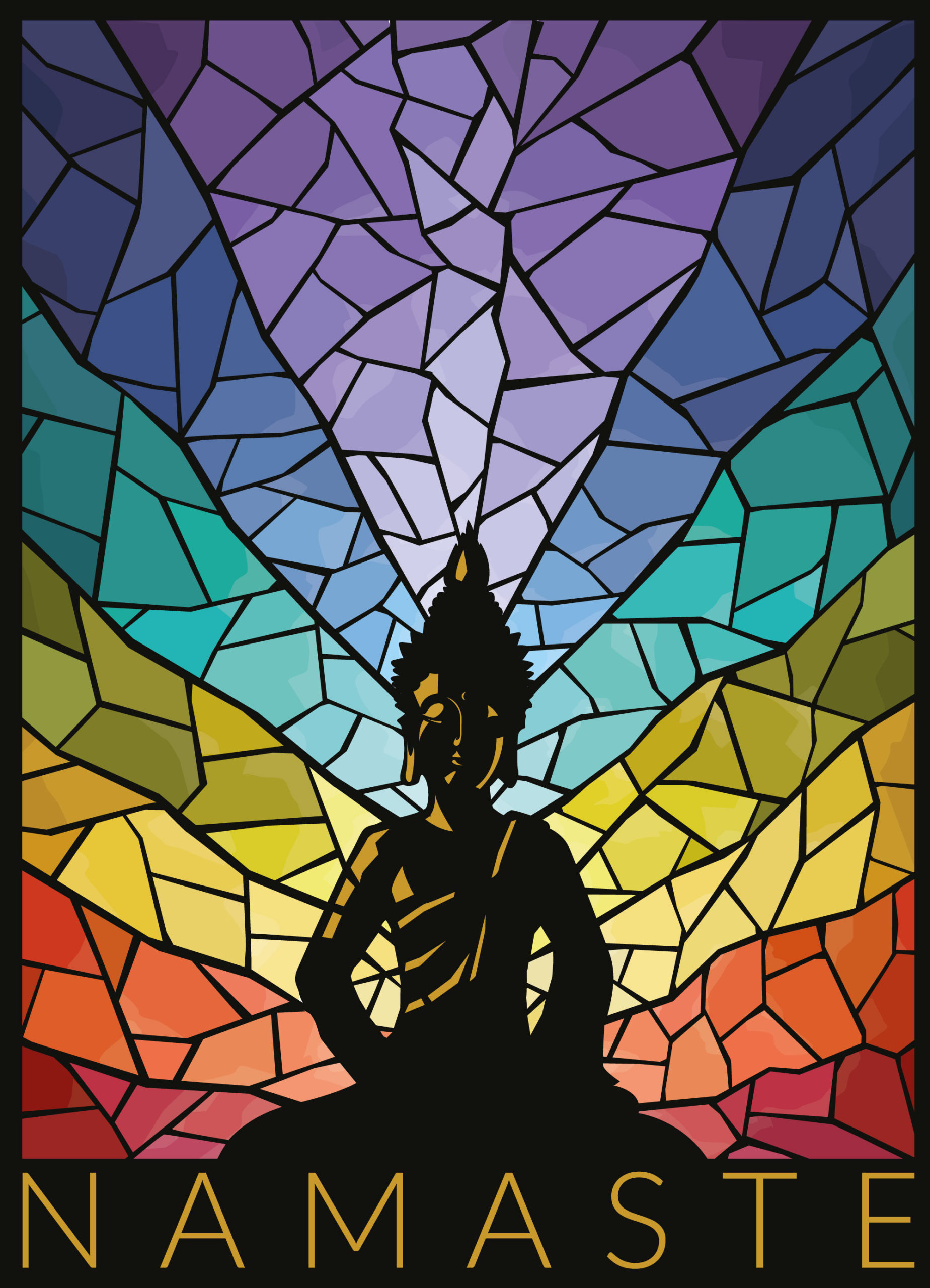 Namaste Yoga stained glass print