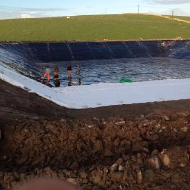 Farm Slurry Lagoon Liner Installation in Progress
