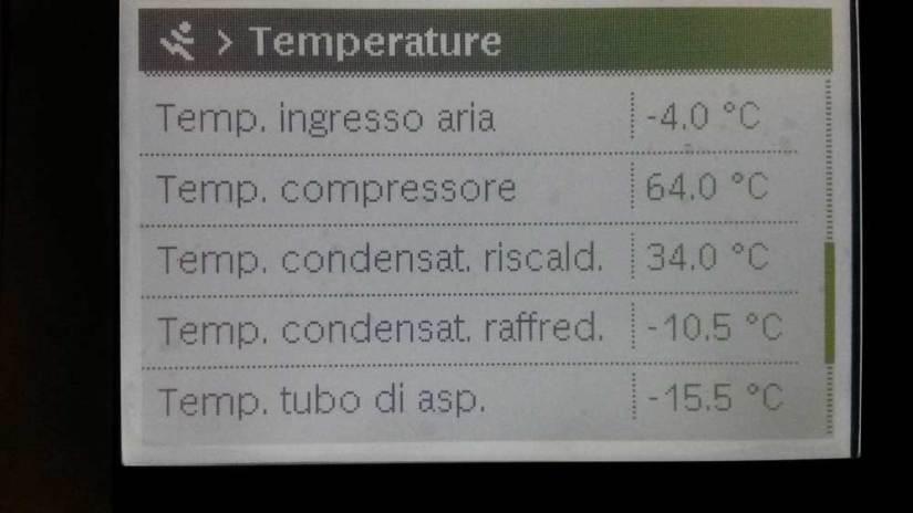 temperatura refrigerante in evaporatore di una pompa di calore aria-acqua quando la temperatura esterna è sottozero; ad esempio a -4°C esterni abbiamo temperature intorno ai -15°C