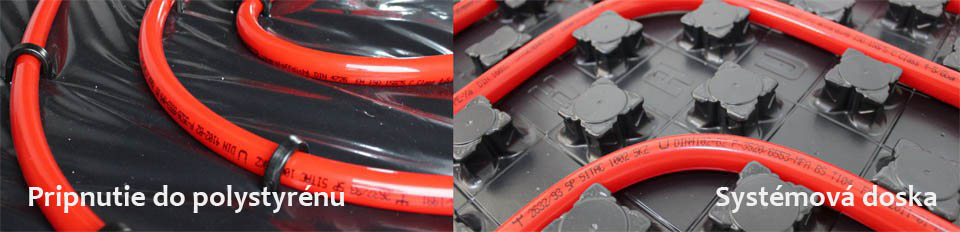 Podlahové kúrenie na systémovej doske a na polystyréne